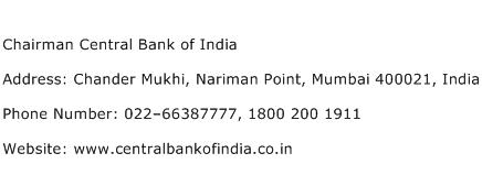 Chairman Central Bank of India Address Contact Number