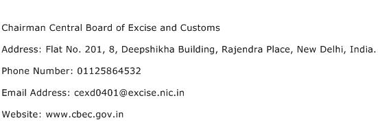 Chairman Central Board of Excise and Customs Address Contact Number