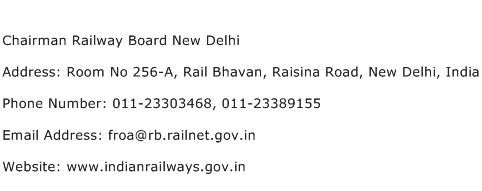Chairman Railway Board New Delhi Address Contact Number