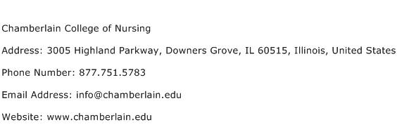 Chamberlain College of Nursing Address Contact Number