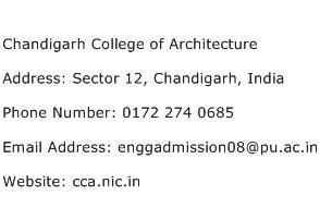 Chandigarh College of Architecture Address Contact Number