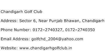 Chandigarh Golf Club Address Contact Number