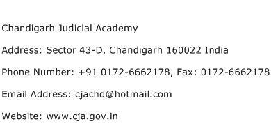 Chandigarh Judicial Academy Address Contact Number