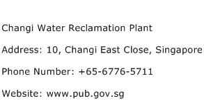 Changi Water Reclamation Plant Address Contact Number