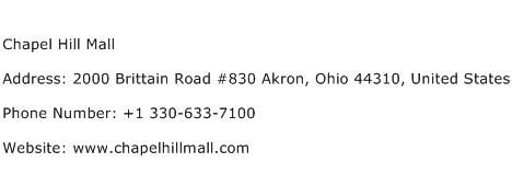 Chapel Hill Mall Address Contact Number