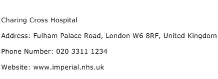 Charing Cross Hospital Address Contact Number