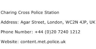 Charing Cross Police Station Address Contact Number