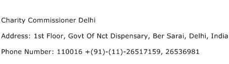 Charity Commissioner Delhi Address Contact Number
