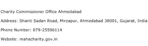 Charity Commissioner Office Ahmedabad Address Contact Number
