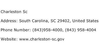 Charleston Sc Address Contact Number