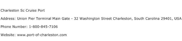 Charleston Sc Cruise Port Address Contact Number