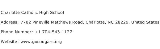 Charlotte Catholic High School Address Contact Number