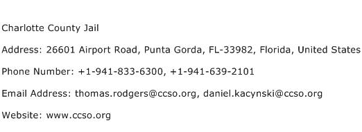 Charlotte County Jail Address Contact Number