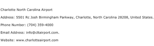 Charlotte North Carolina Airport Address Contact Number