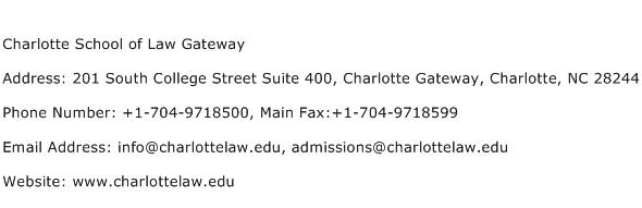 Charlotte School of Law Gateway Address Contact Number