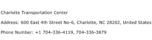 Charlotte Transportation Center Address Contact Number