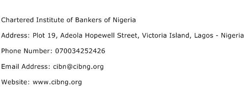 Chartered Institute of Bankers of Nigeria Address Contact Number