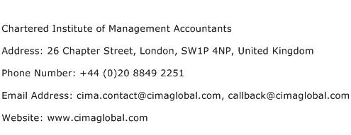 Chartered Institute of Management Accountants Address Contact Number