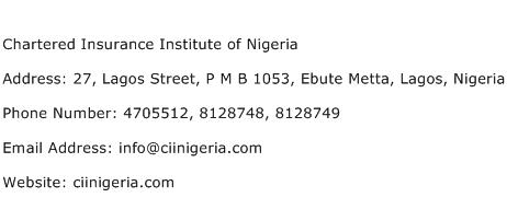Chartered Insurance Institute of Nigeria Address Contact Number