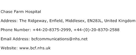 Chase Farm Hospital Address Contact Number