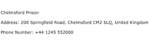 Chelmsford Prison Address Contact Number