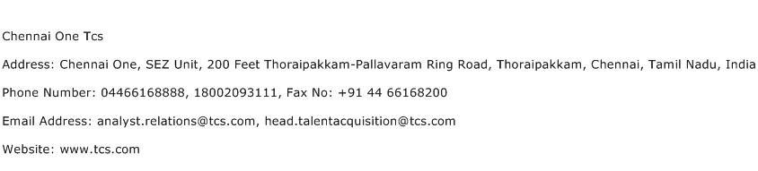 Chennai One Tcs Address, Contact Number of Chennai One Tcs
