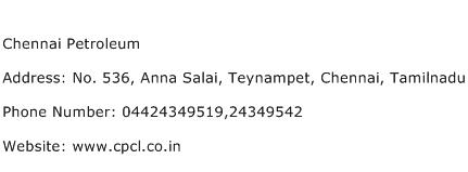Chennai Petroleum Address Contact Number