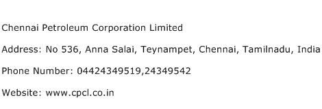 Chennai Petroleum Corporation Limited Address Contact Number