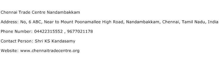Chennai Trade Centre Nandambakkam Address Contact Number