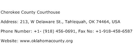 Cherokee County Courthouse Address Contact Number