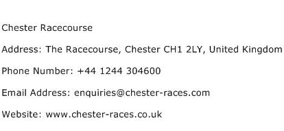 Chester Racecourse Address Contact Number