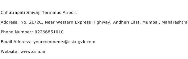 Chhatrapati Shivaji Terminus Airport Address Contact Number
