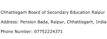 Chhattisgarh Board of Secondary Education Raipur Address Contact Number