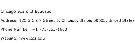 Chicago Board of Education Address Contact Number