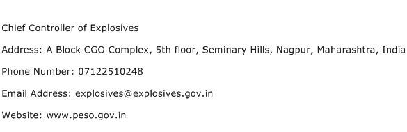 Chief Controller of Explosives Address Contact Number