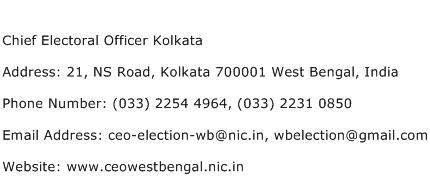 Chief Electoral Officer Kolkata Address Contact Number