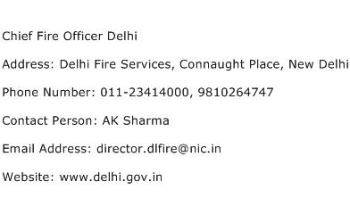 Chief Fire Officer Delhi Address Contact Number