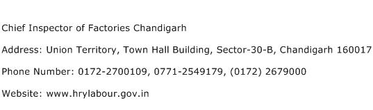 Chief Inspector of Factories Chandigarh Address Contact Number