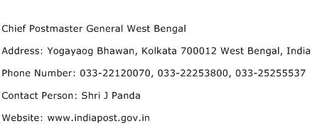 Chief Postmaster General West Bengal Address Contact Number
