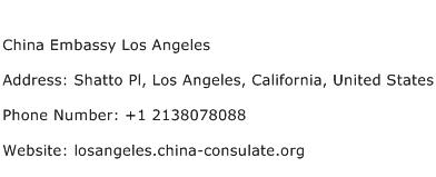 China Embassy Los Angeles Address Contact Number