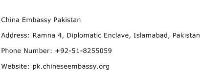 China Embassy Pakistan Address Contact Number