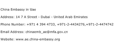 China Embassy in Uae Address Contact Number
