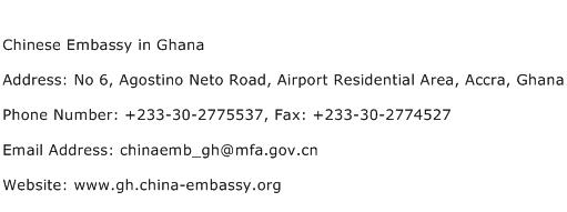 Chinese Embassy in Ghana Address Contact Number