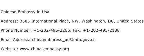 Chinese Embassy in Usa Address Contact Number