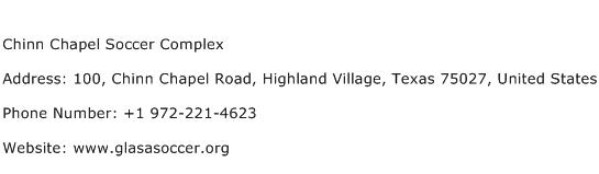 Chinn Chapel Soccer Complex Address Contact Number