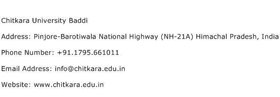 Chitkara University Baddi Address Contact Number