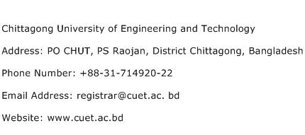Chittagong University of Engineering and Technology Address Contact Number