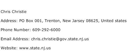 Chris Christie Address Contact Number