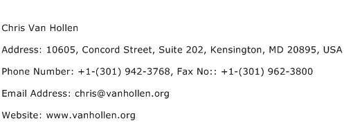 Chris Van Hollen Address Contact Number