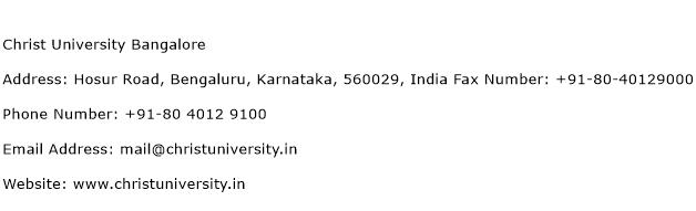 Christ University Bangalore Address Contact Number